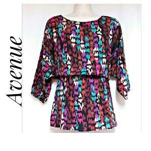 Avenue Multi-Color Aztec Print Top Size 18/20